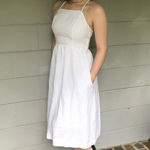 Abercrombie & Fitch White Midi Dress